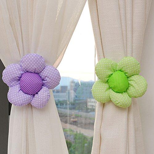 Ndier Hebilla de la cortina, juego de 2 cuerdas alzapaños con forma de flor para cortina, ventana, morado y verde