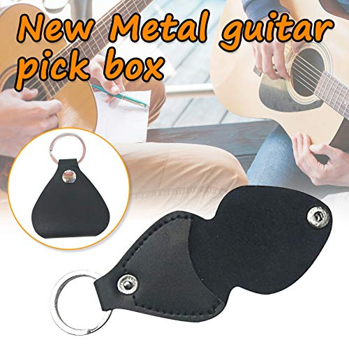 Guitar Pick Box, PU Leather Guitar Pick Holder Keychain, Portable Folding Protective Cases Pouch Keyring for Guitar Picks, Guitar Plectrums Case Bag For All Men And Women Guitar Players!