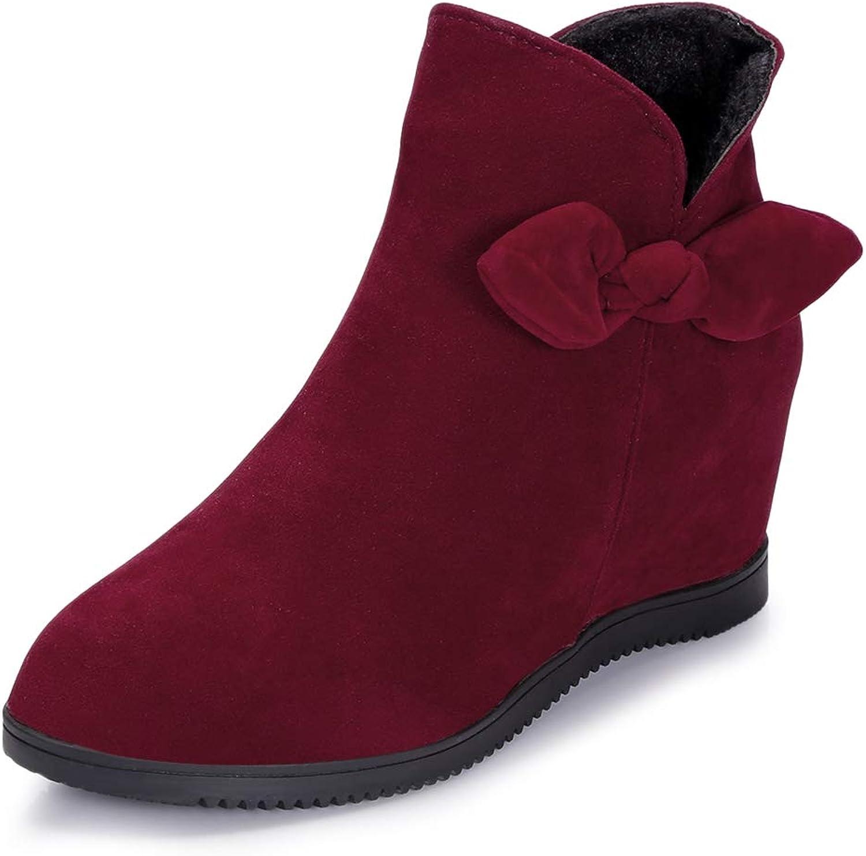 Lieyliso Runde Zehe Wildleder warme Damen Winter Schnee Ankle Schuhe Schuhe Schuhe Bequeme beiläufige Wohnungen Slip On Stiefelies (Farbe   rot, Größe   EU 36)  9e49b1