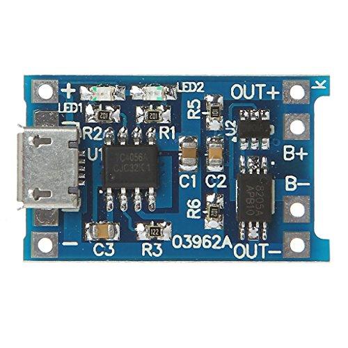 Batería de carga + protección 2 en 1 placa de circuito 5 V 1 A 2 A módulo micro USB