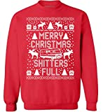 Pekatees Merry Christmas Shitters Full Sweatshirt Shitters Full Sweater Ugly Christmas Top (3XL, Christmas Red)