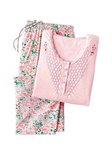 Pajama Set for Women with Capris - Short Sleeve Sleepwear Pjs Sets Available in Small to 4XL, Color Pink, Size XXXXL, Pink, Size XXXXL
