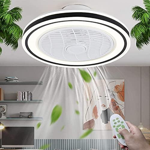 Ventilador de Techo con LED Luz Control Remoto Lámpara de Fan Invisible Regulable Luz de Ventilador Dormitorio Moderna para Cuarto de los Niños Salón Oficina, Ajustable 3 Velocidades, Negro 50cm