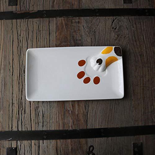 Essteller Keramik Süße Katze Klaue Essteller/Lange Dreidimensional Geformte Fleisch Pad Platte/Katze Slave Platte Gesprenkelt Drei Blume Katze Klaue Platte (Nicht Perfekt)
