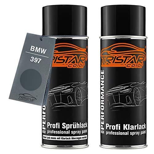 TRISTARcolor Autolack Spraydosen Set für BMW 397 Anthrazit Metallic/Moiregrau Metallic Basislack Klarlack Sprühdose 400ml