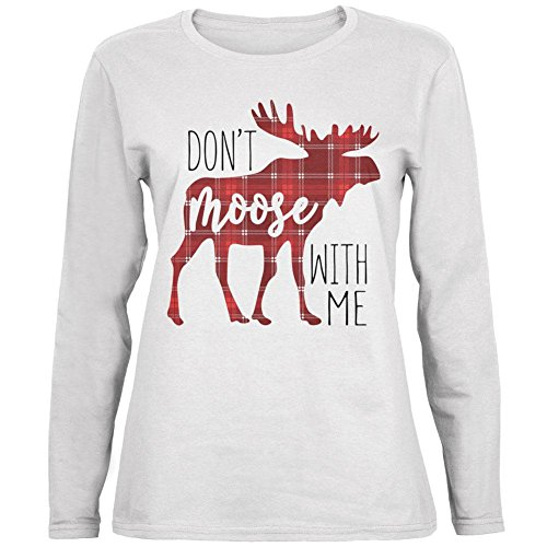 Old Glory Autumn Don't Moose with Me Ladies' Relaxed Jersey Long-Sleeve Tee White MD