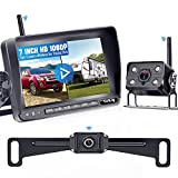 Yakry RV Backup Camera Wireless HD 1080P Car/Truck Hitch Rear View Camera + Trailer Rear View Camera with 7 Inch Monitor with Adapter Compatible with Furrion Pre-Wired RV Infrared Night Vision Y23