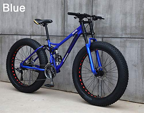 YZT QUEEN Bicicleta de montaña neumático súper Ancho Todoterreno ATV Bicicleta de montaña para Adultos Hombres y Mujeres Bicicleta 26 Pulgadas 24 velocidades,Azul