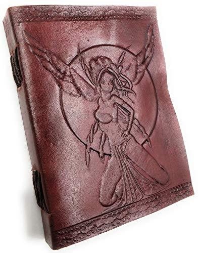 Kooly Zen – Cuaderno de notas, diario, libro, piel auténtica, vintage, hadas, 13 x 17 cm,...