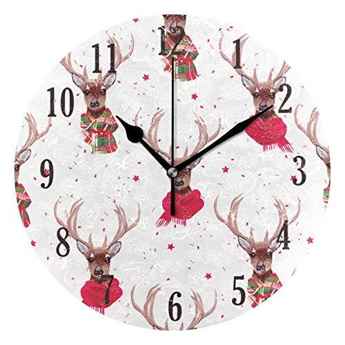 Pam9877ga - Orologio da Parete Rotondo con Renna di Natale, in Legno, 30,5 cm