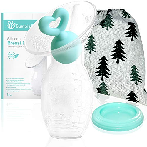 Bumblebee Manual Breast Pump with Breastfeeding Milk Saver Stopper& lid in Gift Box Food Grade Silicone bpa PVC and Phthalate Free