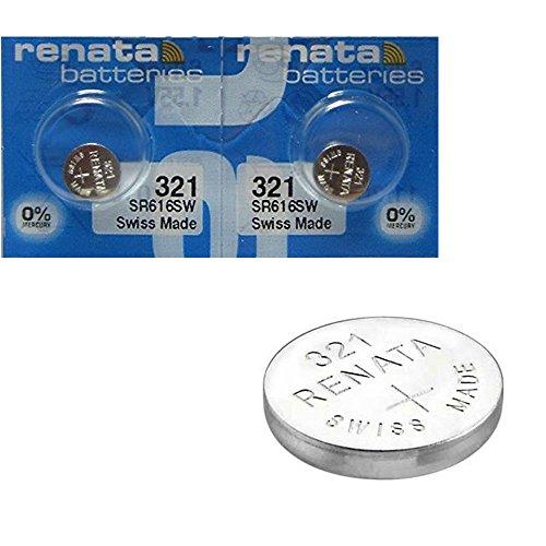 2 x Renata Uhrenbatterie - Swiss made Cells Silberoxid 0% Quecksilber Knopfzellen 1.55V Renata Batterien des langen Lebens 321 ( SR616SW )