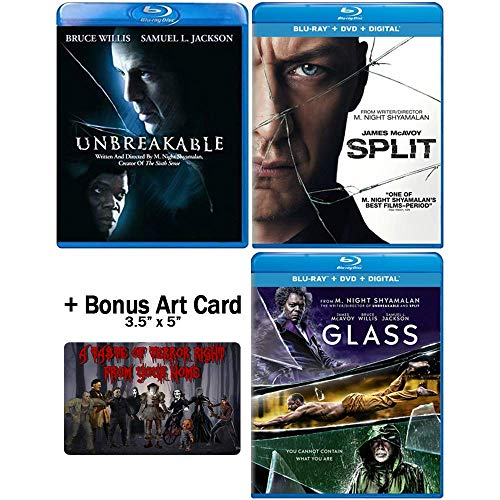 The M. Night Shyamalan Master Collection: Complete Movie Trilogy Blu-ray Collection: (Unbreakable + Split + Glass) + Bonus Art Card