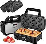 Decen Waffle Maker 3 in 1 Sandwich Toastie Maker, Deep Fill Sandwich Toasters & Panini Presses with 5-Gears Temperature, Detachable Non-Stick Plates Easy to Clean,1200W, Black