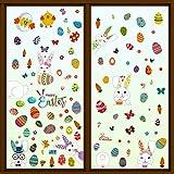 9 Fogli Adesivi Finestra Pasqua con Coniglietti Uova Decorazioni Pasquale Vetrofanie per Feste di Pasqua Vetrina Casa Scuola Negozio