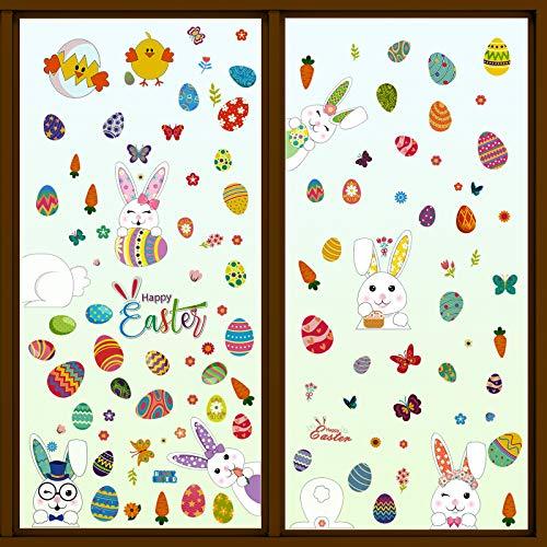9 Hojas Pegatinas PVC de Ventanas para Fiesta Pascua Conejos Huevos de Pascua Calcomanía DIY Decorativos Fiestas Hogar Cafetería Restaurante Mostrador Escaparate