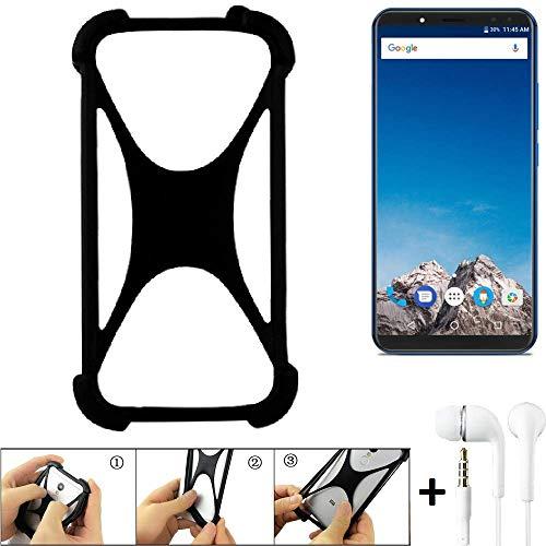 K-S-Trade® Handyhülle Für Vernee X Schutzhülle Bumper Silikon Schutz Hülle Cover Case Silikoncase Silikonbumper TPU Softcase Smartphone, Schwarz (1x), Headphones