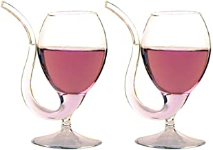 Creative Vampire Filter Wine Glass Personality Transparent Juice Cup Goblet With Drinking Sucker Tube Straw High Gorosilicate Glass Wine Mug Portp Sippers Set of 2(300ml/10oz)