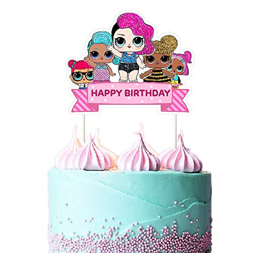 LOL Cake Topper, Happy Birthday Cake Topper, Pink Cake Decorations for Bday Theme Party, 1 count
