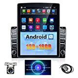 2 din Android car Stereo with Intelligent Voice Control 9.7 inch 2.5D HD Touch Screen Car Radio with Bluetooth Support GPS Navigation, WiFi, Mirror Link, Dual USB Input + 12 LED Backup Camera