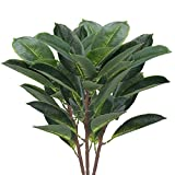XYXCMOR 3 Pcs Artificial Plants Indoor 14.96'' Faux Ficus Tree with 15 Fiddle Leaves Plastic Greenery Bush Silk Plants Floral Arrangement for Indoor Outdoor Home Office Wedding Modern Decor