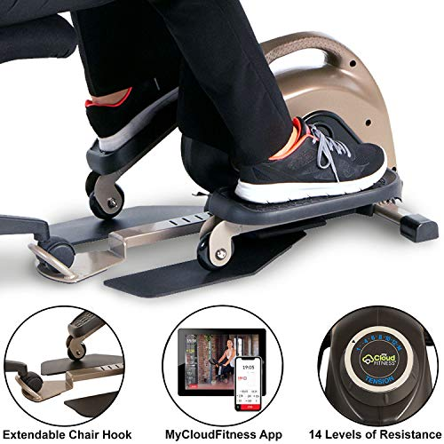 Exerpeutic 900E Exerwork Ellipsentrainer / Stepper für das Training an Ihrem Schreibtisch, mit ausziehbarem Stuhlhaken, Bluetooth und kostenloser App