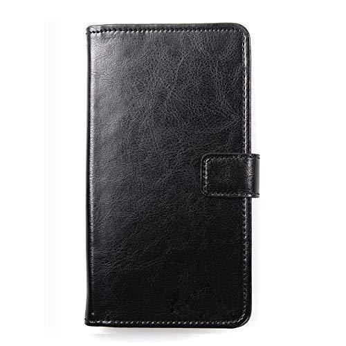 Dingshengk Schwarz Premium Leder Tasche Schutz Hulle Handy Hülle Wallet Cover Etui Für BluBoo D5 Pro 5.5