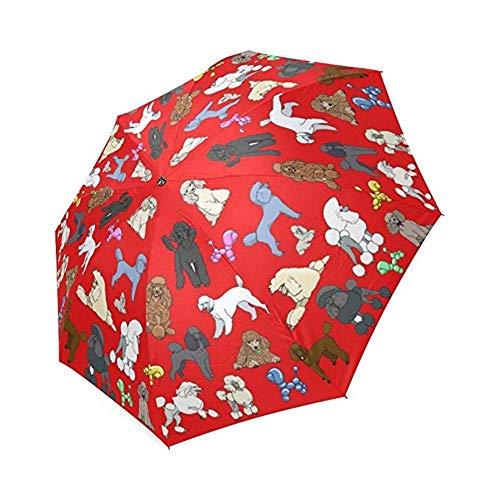 Piner Poedel Paraplu Rood Custom Printing Opvouwbare Zon Regen Opvouwbare Paraplu Stof Aluminium Opvouwbare paraplu, Kleurrijk