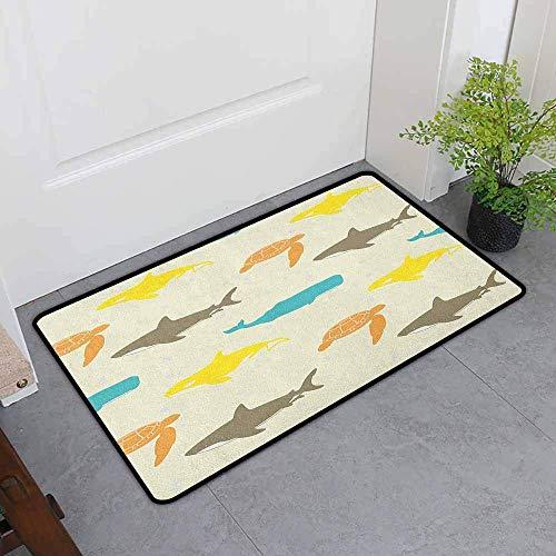Kinhevao Outdoor Fußmatte, Meerestiere Muster mit Walhai und Schildkröte Aquarium Doodle Style Marine Life, anpassen Fußmatten für Home Mat, Elfenbein Taupe Pfirsich Badematte