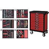 KS Tools 809.9452 - Servante d'atelier 9 tiroirs - Gamme ULTIMATE® - Système de fermeture centralisé par serrure - 4 roues robustes - Equipée de 455 outils - Couleur Rouge