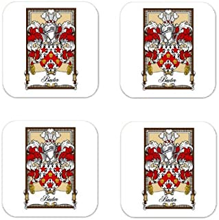 MyHeritageWear.com Baxter Family Crest Square Coasters Coat of Arms Coasters - Set of 4