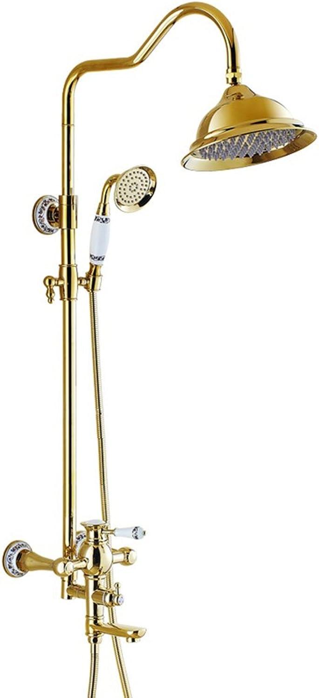 Cqq Duschset Europischer Stil Goldene Dusche Duschset Badezimmer warm und kalt Kupfer Wasserhahn Dusche Gert ( design   A )