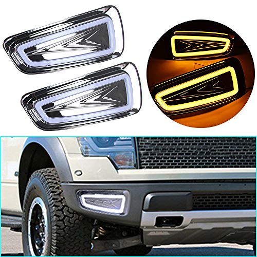 LED DRL Light Dual color for Ford F-150 SVT Raptor 2010-2014 Fog Lamp Decorative Automotive Lights Exterior Accessories Model B 1 pair