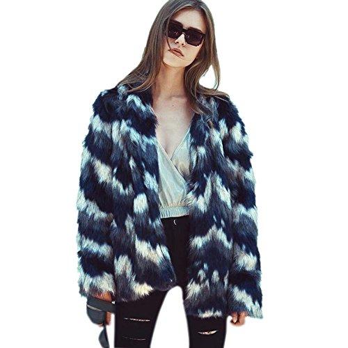 VLUNT Mujer Abrigos de Pieles Chaqueta Invierno Abrigo de Pelo Sintética de Fox Chaqueta Capa Abrigo Largo Fur Coat