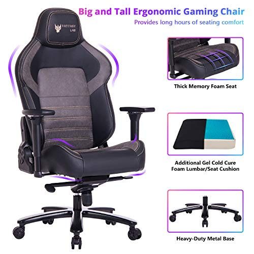 FANTASYLAB Big and Tall 440lb Gaming Chair - Gel Cold Cure Memory Foam Lumbar/Seat Cushion & 4D Adjustable Arms Swivels & Reclines Ergonomic High-Back Racing Computer Desk Office Chair, Metal Base chair FANTASYLAB gaming