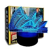 KangYD Romantic Opera House 3D Night Light, LED Visual Lamp, Bar Decor, Creative Light, Decor Gift, Mood Lamp, E - Base para despertador (7 colores)