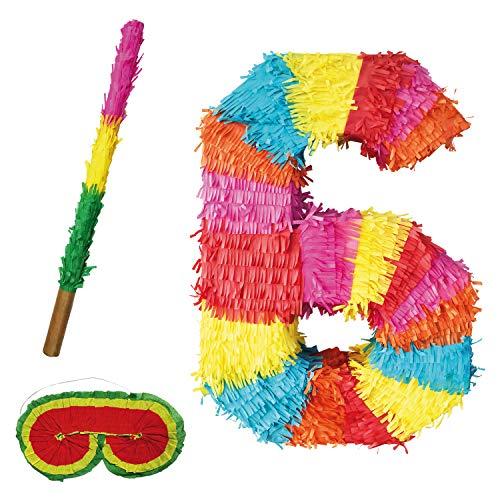 Party Factory Pinata Zahlen Set 0-9 + Stab + Augenmaske Kinder Geburtstag Schlag-Pinata 50 x 35 x 8cm Dekoration Geburtstagsdeko (6)