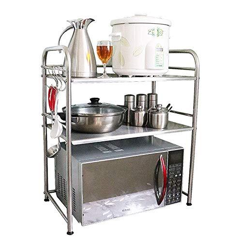 PYROJEWEL Estante de la Cocina Estante de la Cocina de Suelo de Acero Inoxidable 3layer Estante de Especia de microonda Rack Adecuado para Dormitorio, Sala de Estar, baño, Kit