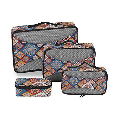 Moroccan 4pcs Toiletry Bag - Large Cosmetic Makeup Travel Organizer for Men & Women