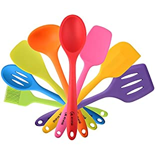 4YANG Premium Silicone Kitchen Spatula Utensil in Hygienic Solid Coating Set-8 Pieces with Turner, Spoon, Spatula, Ladle, Spoon Spatula, basting brush, Slotted Spoon, Spoonula.(colorful):Greatestmixtapes