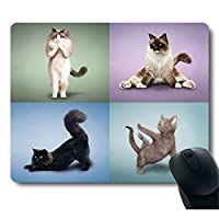 Funy Professional Yoga Cat do Difficult Yoga Positions Customized Mouse Pad [並行輸入品]