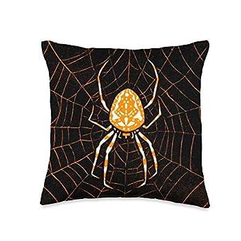 Retro Vintage Movie posters Prints Ads Art Nouveau Orange Spider On Web Retro Vintage Victorian Throw Pillow 16x16 Multicolor
