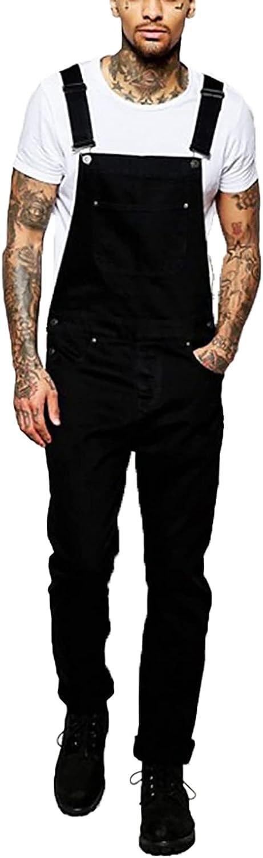 RJFYPX Men's Denim Overalls, Bodysuits, Solid Color Straight Overalls