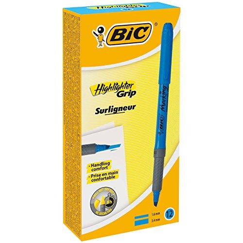 BIC Highlighter Grip Marcadores punta biselada Ajustable - Azul, Caja de 12 unidades