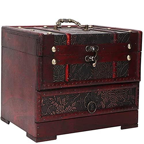 shandianniao Caja de Almacenamiento de Joyas Caja de joyería de Madera con Espejo Vintage 8.7 x 6.3 x 6.3 Pulgadas para Broche de Pulsera (Color : Multi-Colored)