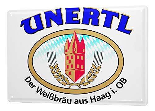LEotiE SINCE 2004 Cartel de Chapa Weissbierbrauerei Unertl Weißbräu La Haya del Logo con Publicidad de Cerveza de Trigo 20x30 cm