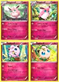 Pokemon Wigglytuff & Jigglypuff - Rare Fairy-Type Card Evolution Set (X-Y #87, #88, #89 and #90)