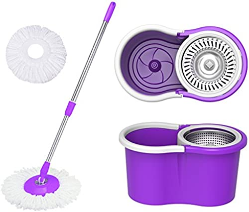Eco Alpine 360 Degree Magic Spin Mop with Steel Spinner Plus 1 Refill Pack Purple and White