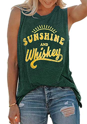 Sunshine and Whiskey Tank Tops Women Sleeveless Casual Letter Print Drinking Party Tops T-Shirt Summer Beach Vest (XX-Large, Green)