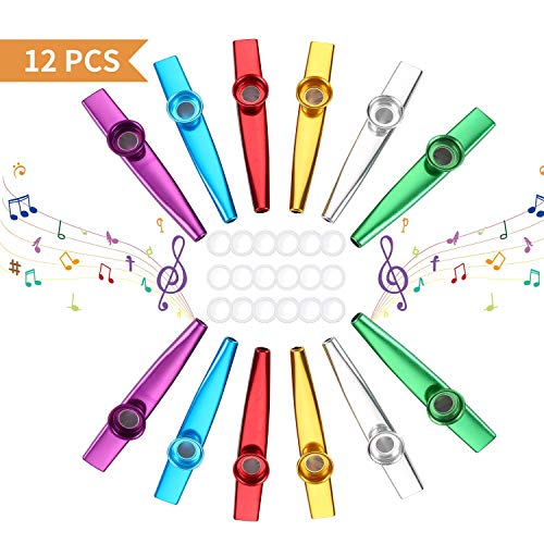 Herefun Kazoo, 12 Stück Metall Kazoo Musik Instrument für Ukulele, Gitarre, Violine, Klaviertastatur mit 18 Flöten-Membranen für Kinder Musikliebhaber - 6 Farben